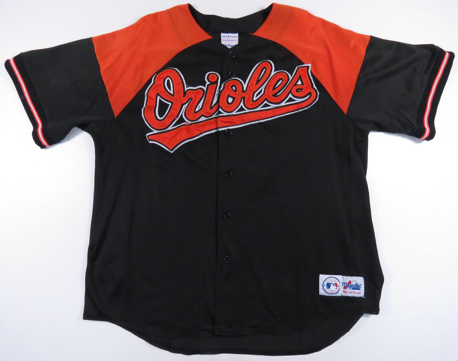 90er Jahre Cal Cal Cal Ripken Jr.Baltimore Orioles Genähte Majestätisch Baseballtrikot a541da