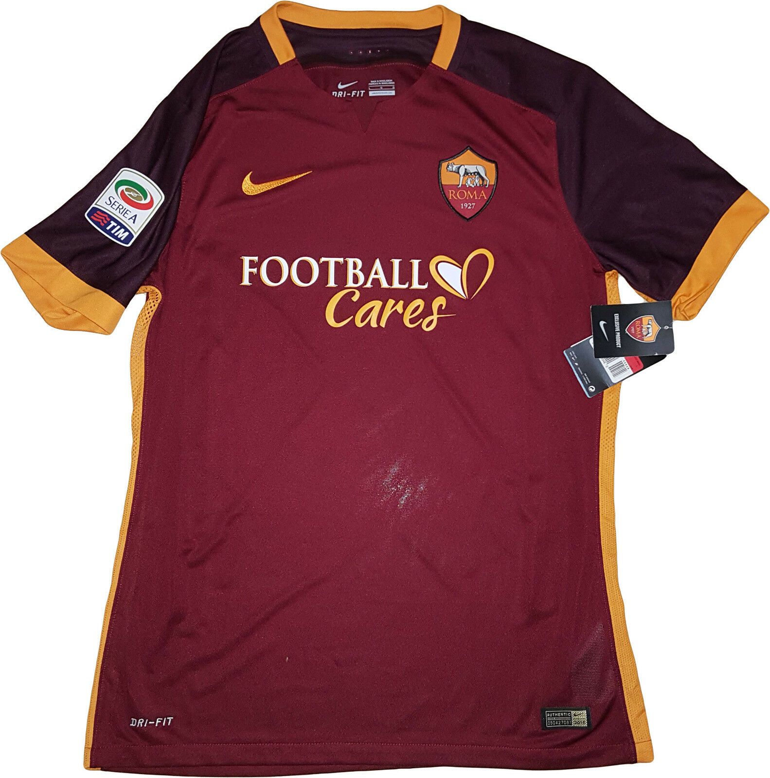 MAGLIA ROMA TOTTI Football cares JERSEY NIKE AUTHENTIC ISSUE player 2015-2016