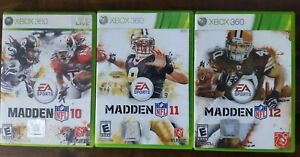 USED - Madden Football 10 + 11 + 12 - Xbox 360 - Lot of 3 Bundle Free Shipping