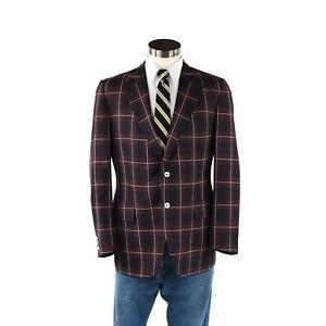 Vintage-70s-Men-039-s-Navy-Blue-Windowpane-Plaid-Retro-Preppy-Sport-Coat-Jacket-40