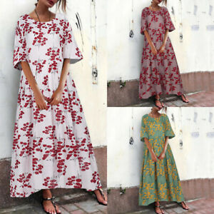 ZANZEA-Womens-Floral-Print-Short-Sleeve-Long-Shirt-Dress-Summer-Maxi-Long-Dress