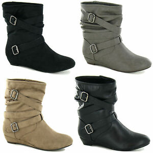 LADIES PULL ON ANKLE BOOTS SIZES 3-8 SMALL WEDGE F50068 BUCKLED ...