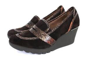 NEW-225-womens-brown-DONALD-J-PLINER-marley-platform-wedge-heels-leather-9-M