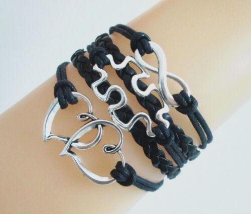 Hot Infinity//Double Coeurs//autisme puzzle charms en cuir tressé Bracelet-Noir