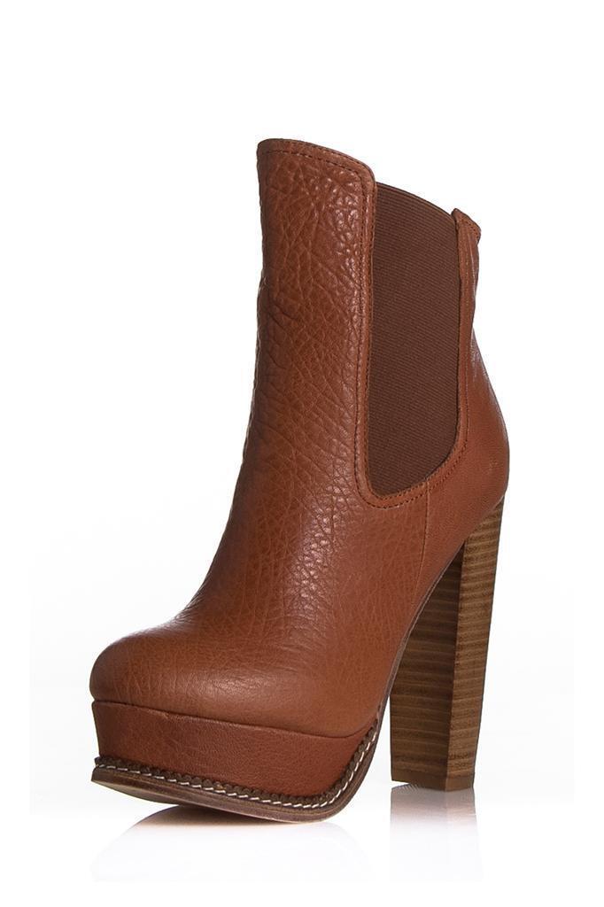 Plomo Isabella Boot Wood Elephant Ankle Brown Elastic Leather Textured Designer