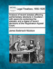 Analysis of Recent Statutes Affecting Parliamentary Elections in Scotland: With Appendix Containing the Statutes, and a Digest of Recent Decisions of the Registration Appeal Court. by James Badenach Nicolson (Paperback / softback, 2010)