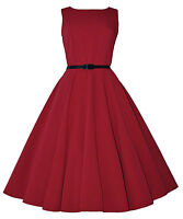 Vintage Retro 40's 50's Audrey Red Mid Calf Rockabilly Swing Dress New 8 - 20
