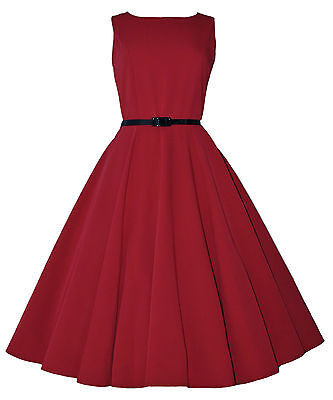 Ehrlichkeit Vintage Retro 40's 50's Audrey Red Mid Calf Rockabilly Swing Dress New 8 - 20