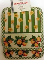 Rare Set Of 2 Printed Pot Holders, 7 X 7, Apples & Flowers, By Am
