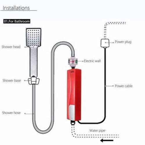 3KW Elektrische Durchlauferhitzer Tankless Dusche Instant Warmwasser Heizung