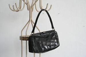 00d05629ac4ad Das Bild wird geladen Damen-Handtasche-echtes-Leder-SCHWARZ-60er-True- VINTAGE-