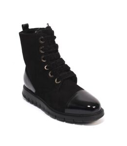 Luca-Grossi-008-Black-Suede-Patent-Leather-Fur-Zip-Lace-Ankle-Boot-39-US-9