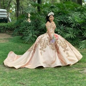 Rose Gold Quinceanera Dresses Off Shoulder Lace Appliques Sequins Sweet 16 Gown Ebay