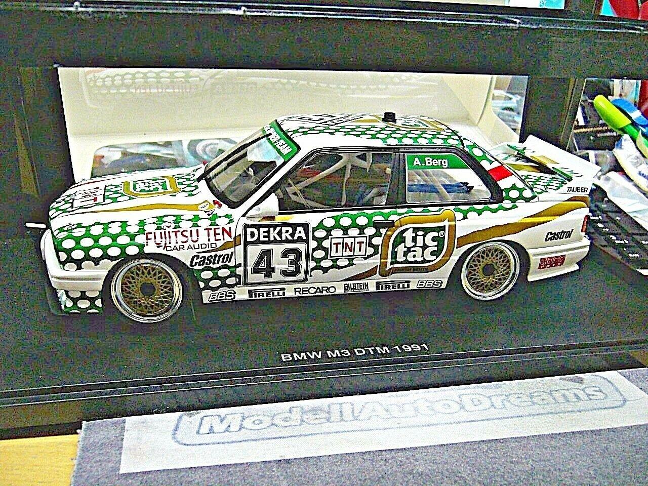 BMW m3 3er e30 Dtm 1991 Tic Tac TNT montagne  43 équipe Tauber S-PRIX Autoart 1 18