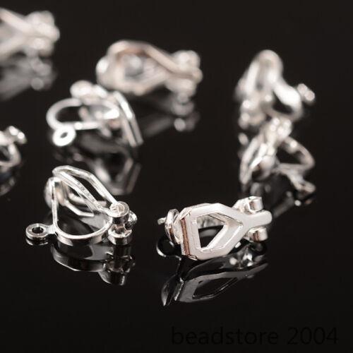 20x Silver Tone Brass Clip-on Earring Blanks Converter Findings Non-Pierced 13mm