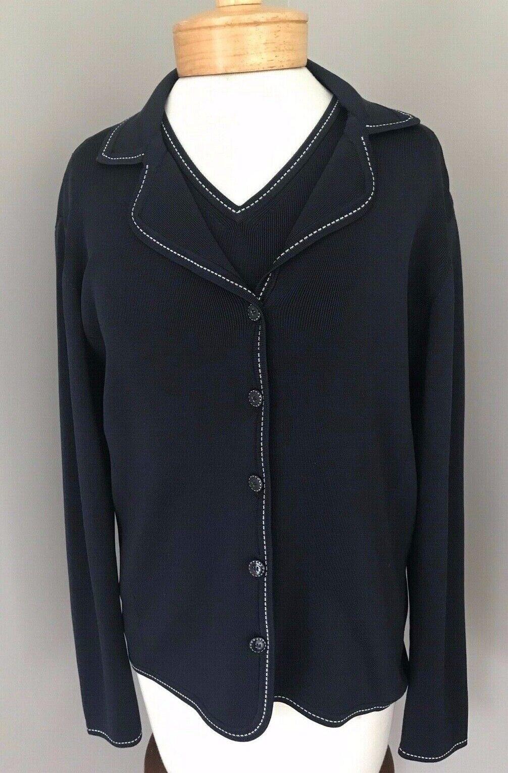 Carlisle 2pc Lightweight Silk Blend Sweater Set w Sleeveless Tank Navy  MEDIUM