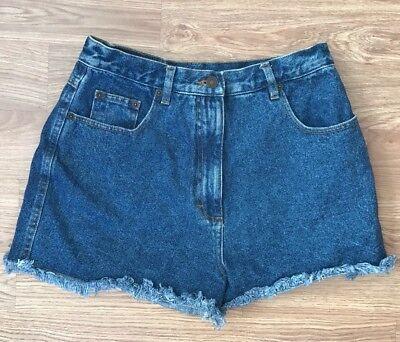 100% Vero Vita Alta Pantaloncini Di Jeans W28 Taglia 10 Denim Raw Orlo Festival Indie Estate Blu-mostra Il Titolo Originale