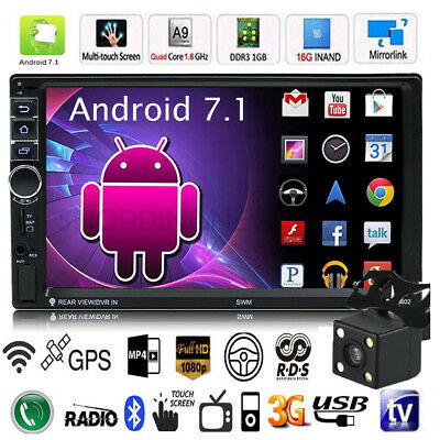 "Quad Core Android 7.1 3G WIFI de 7"" 2DIN Car Radio estéreo MP5 GPS Player+Cámara"