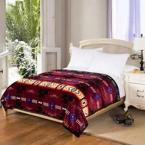 Southwestern-Navajo-Print-Silk-Touch-Reversible-Queen-Size-Blanket-Burgundy
