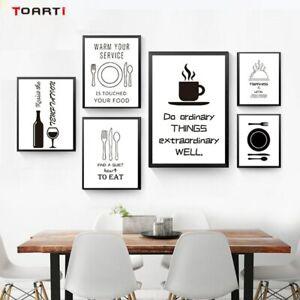 Black White Minimalist Kitchen Wall Art