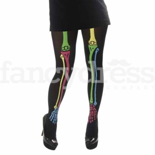 Girls Neon Skeleton Tights Halloween Fancy Dress Accessory Black Opaque Tight
