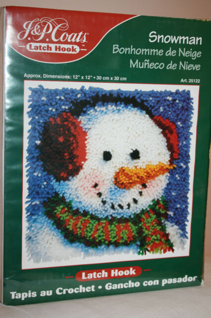 "Rug Latch Hook Kit New Snowman Christmas Winter Holiday 25122 12""x12""  J P Coats"