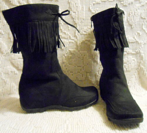 LUCKY TOP girls BOOTS  faux suede with fringe trim side zip brown or black