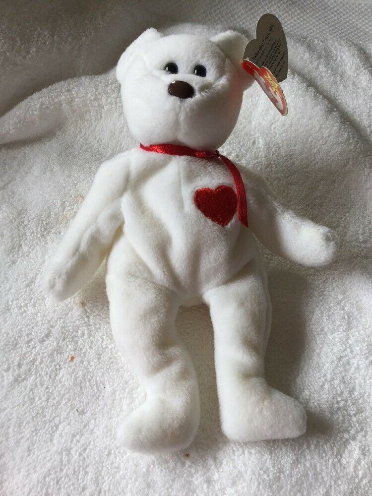 Ty Original Beanie Baby- Valentino bear born 14 2 1994 (Rare) Errors 1st Gen