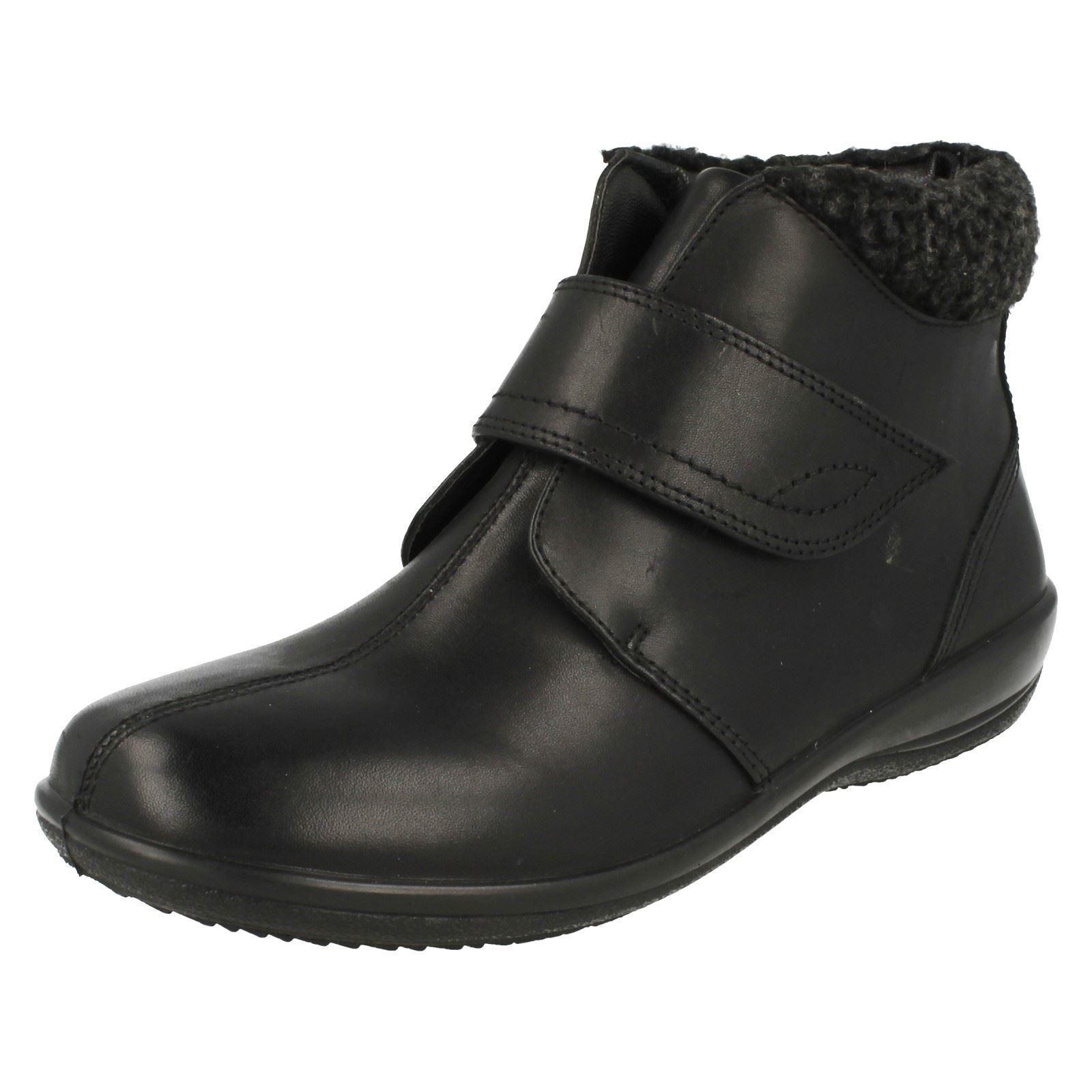 Padders Plus tamaño 4.5 Ida cm x amplio ajuste Ida 4.5 Cuero Negro botas al Tobillo Comodidad Plana 716989