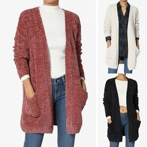 Details about TheMogan S~3X Soft Velvet Yarn Cable Knit Pocket Open Front  Sweater Cardigan 834e1709f