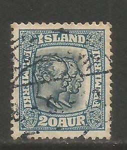 Iceland 1915-18 Two Kings 20a blue (107) used