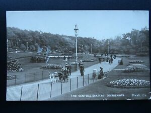 Dorset BOURNEMOUTH The Central Gardens showing Donkey Cart c1914 RP Postcard