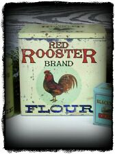 Primitive Vintage Victorian Reproduction LARGE`Red Rooster Flour`Canister `Bin`
