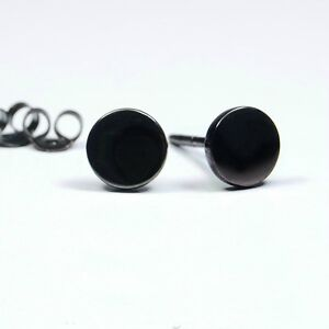 Image Is Loading Black Stud Earrings For Men Round Disc Post