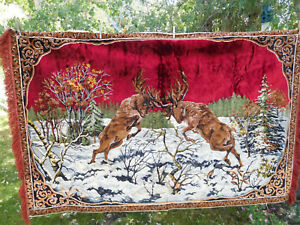 Vtg Thick Plush Velvet Tapestry Rug Wall Hanging Elk Battle Free Ship 72 X 48 Ebay