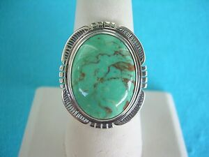 NAVAJO-NATIVE-AMERICAN-TURQUOISE-RING-SIZE-12-STERLING