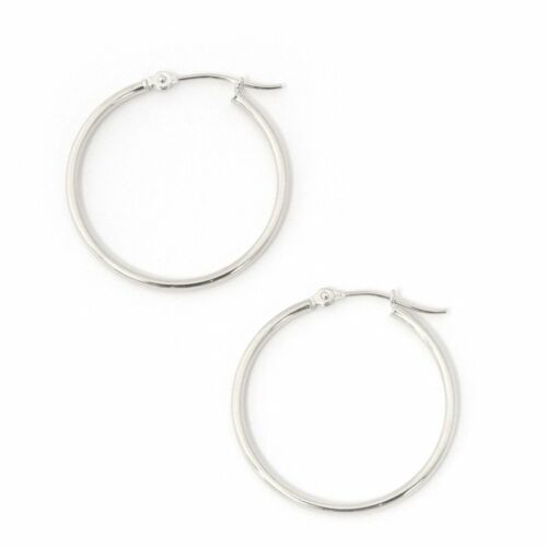 """25mm 14k Yellow or White Gold 1.5mm Thin Polished Hoop Earrings 1/"""""""