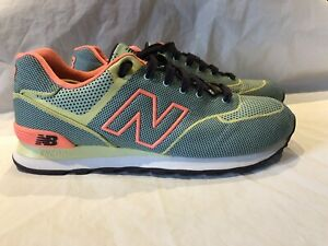 buy online 546c6 6bde3 Details about New Balance Womens Size 11 Teal Peach Bright Green 574 Elite  Edition WL574ALE