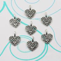 15PCS Hollow Heart Tibet Silver Antique Charms Pendants Crafts Jewelry DIY