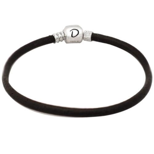 """De Buman argent sterling en cuir Marron foncé charm bracelet 7.87/"""""""
