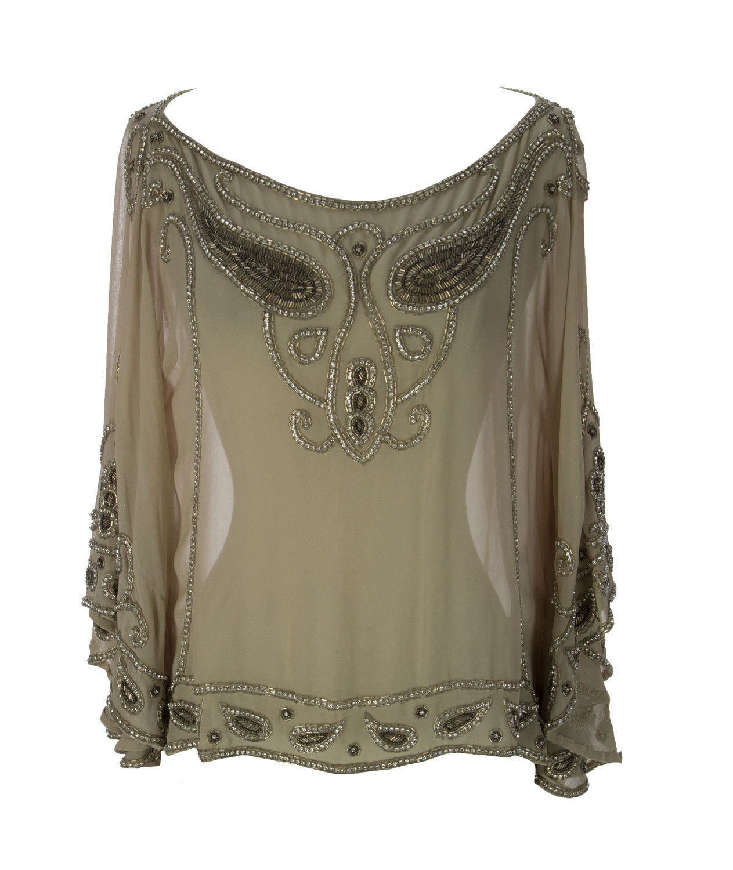 Haute Hippie Crystal Embellished  Silk Blouse   Top   Größe  XS-S