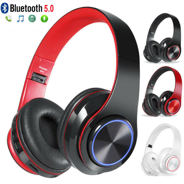 Wireless Bluetooth 4 2 Foldable Headphones Over Ear LED Light Stereo  Headset MP3
