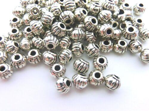 100 Spacer 5x4mm Rondell entre Perles Couleur Antique Argent Métal Perles #s362