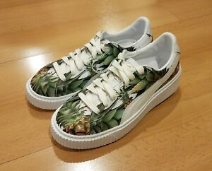 Image is loading PUMA-BASKET-PLATFORM-PINEAPPLE-CREEPERS-WHITE-GREEN-GOLD- ac1136179