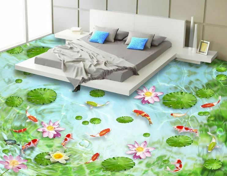 3D fish flower water5874 Floor WallPaper Murals Wall Print Decal 5D AJ WALLPAPER