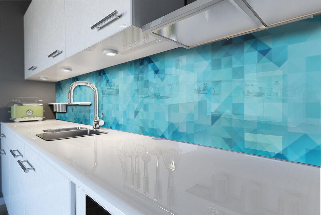Cocina plano posterior projoección contra salpicaduras cocina durate vidrio abstracto azul patrón triángulos