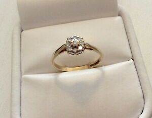 Lovely-Ladies-Vintage-9-Carat-Gold-Pretty-Little-Diamond-Cluster-Ring-N-1-2