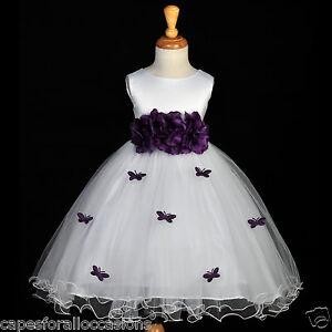 d5a0718c40d Image is loading WHITE-BUTTERFLIES-WEDDING-COMMUNION-FLOWER-GIRL-DRESS-TULLE -