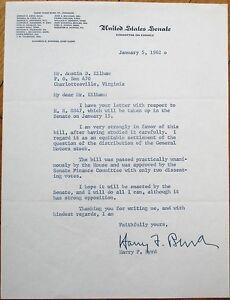 HARRY-F-BYRD-1962-TLS-Autograph-Signed-Letter-Virginia-VA-Governor-Senator
