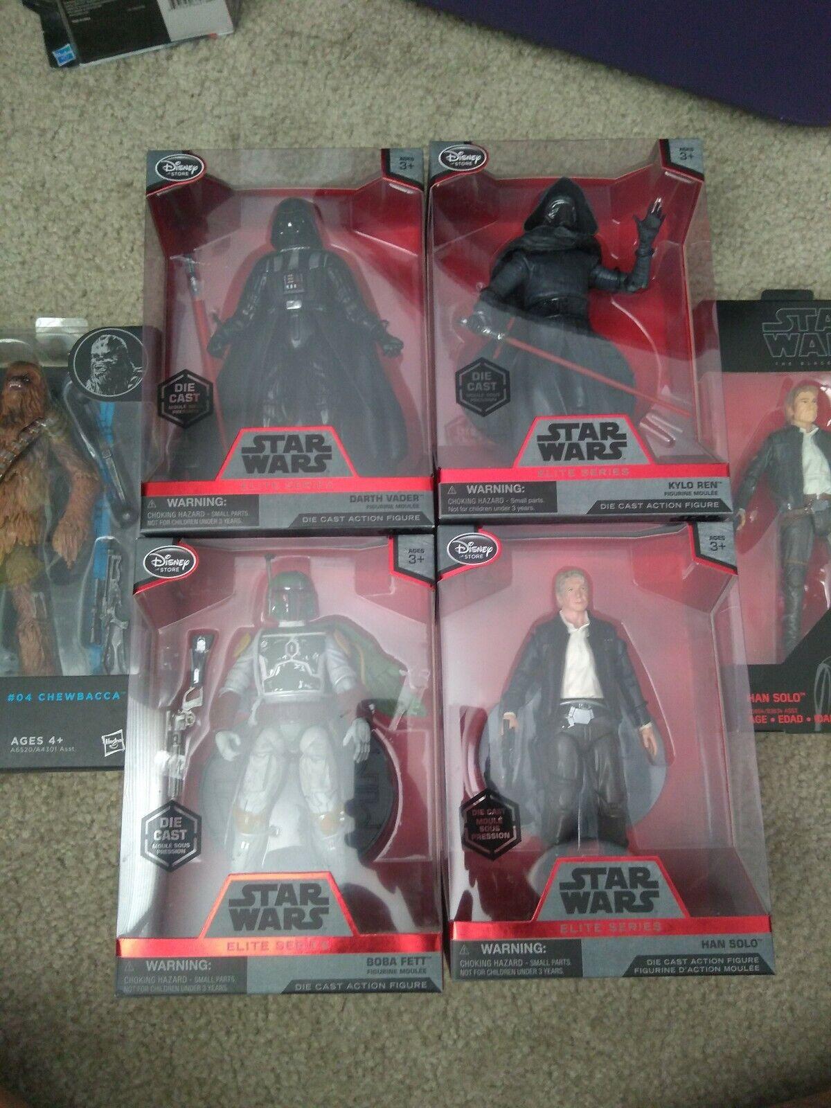 4 Stern wars elite diecast figures. Adding in Han Solo and chewebaca schwarz serie